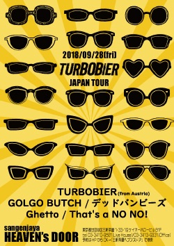 9/28(fri)三軒茶屋 HEAVEN'S DOOR【TURBOBIER Japan Tour】